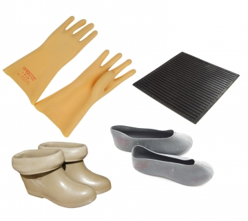 Перчатки, боты, галоши, накладки, ковры электроизолирующие